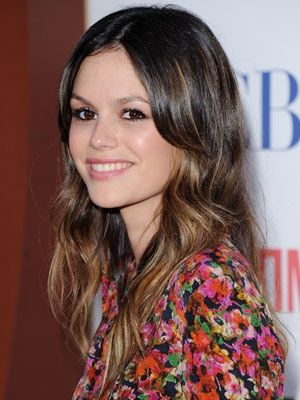 Rachel Bilson with caramel balayage and long curtain fringe