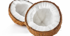 Halved coconut