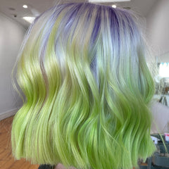 pastel green and violent hair in a bob haircut