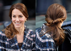 Kate Middleton with twisted updo front and back view