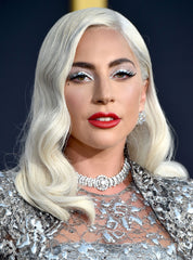 Lady Gaga with platinum blonde soft glam waves