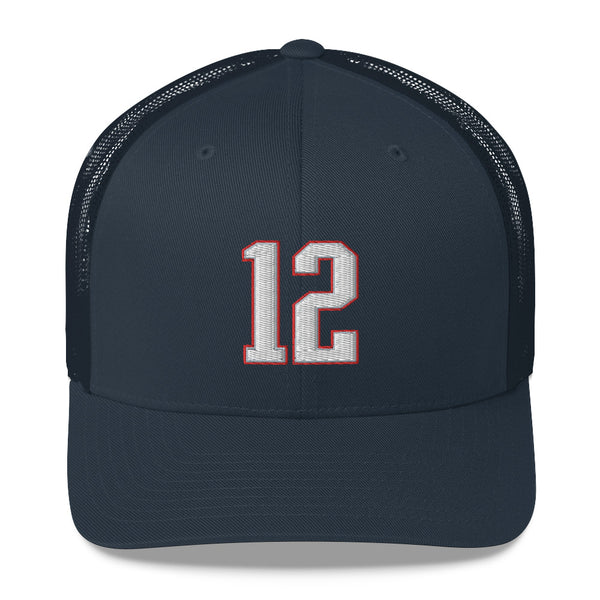 Tom Brady #12 Trucker Cap-Player Number Hat-Coverage Gear