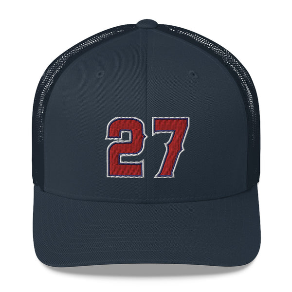 Mike Trout #27 Trucker Cap-Player Number Hat-Coverage Gear