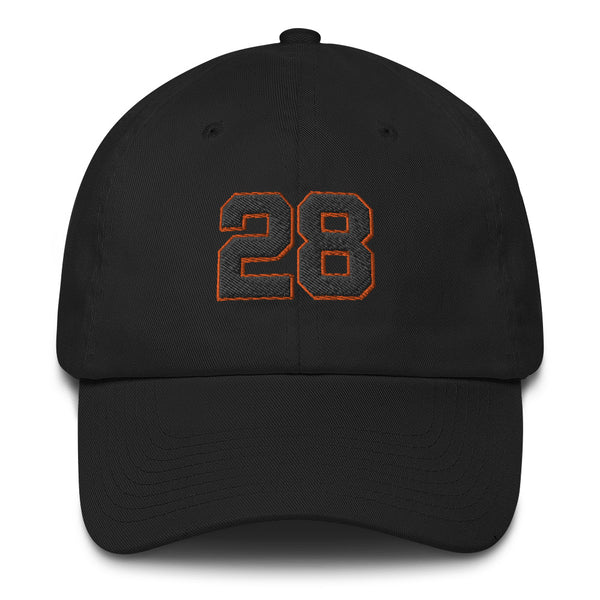 Buster Posey #28 Black Number with Border Dad Hat