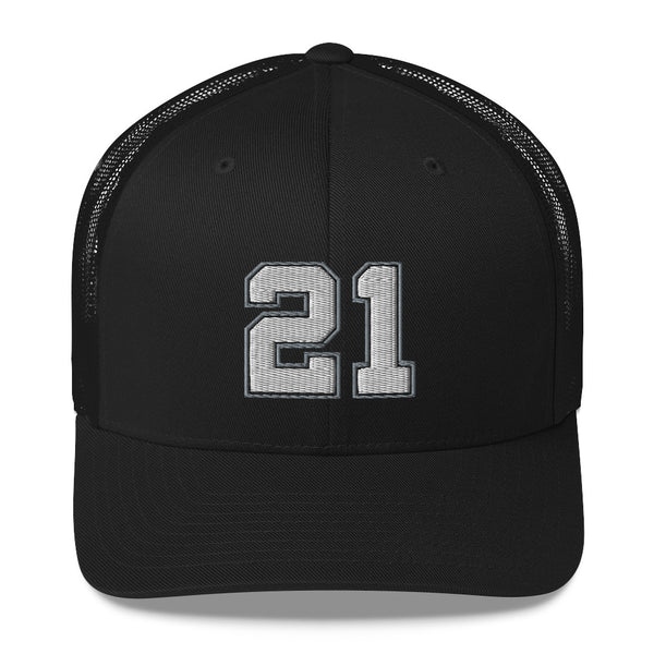Tim Duncan #21 Trucker Cap-Player Number Hat-Coverage Gear
