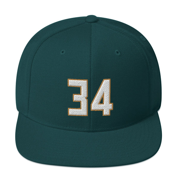Giannis Antetokounmpo #34 Snapback Hat-Player Number Hat-Coverage Gear
