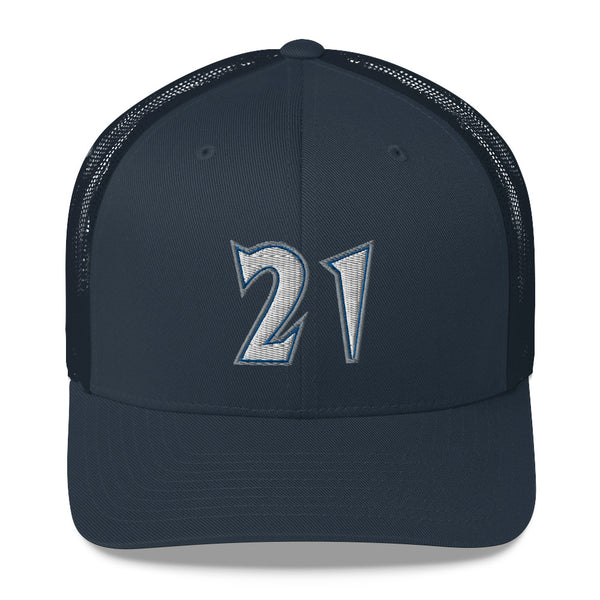Kevin Garnett #21 Trucker Cap-Player Number Hat-Coverage Gear