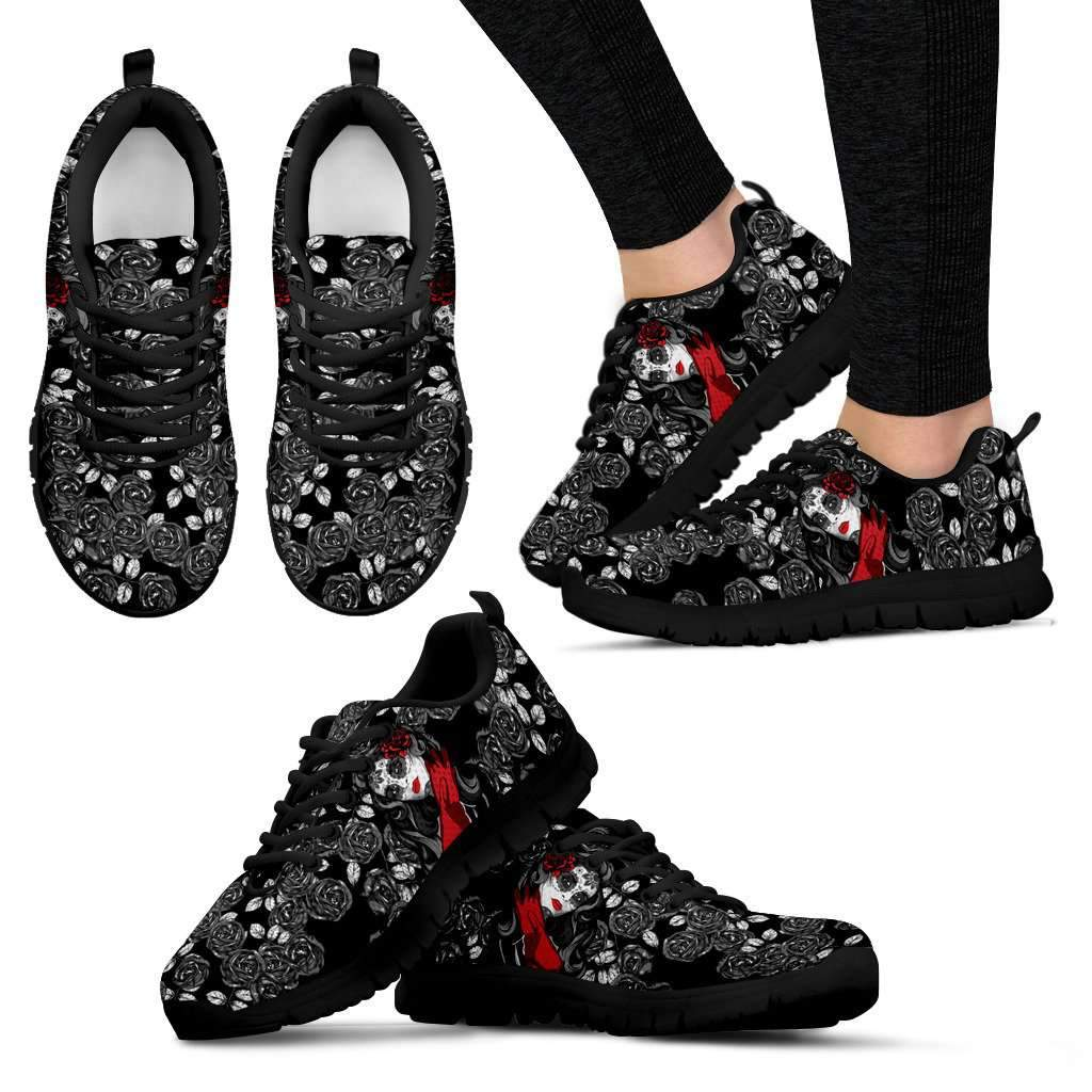 Black Roses and Calavera Girl Hand Crafted Sneakers-black soles Umisfashion Store
