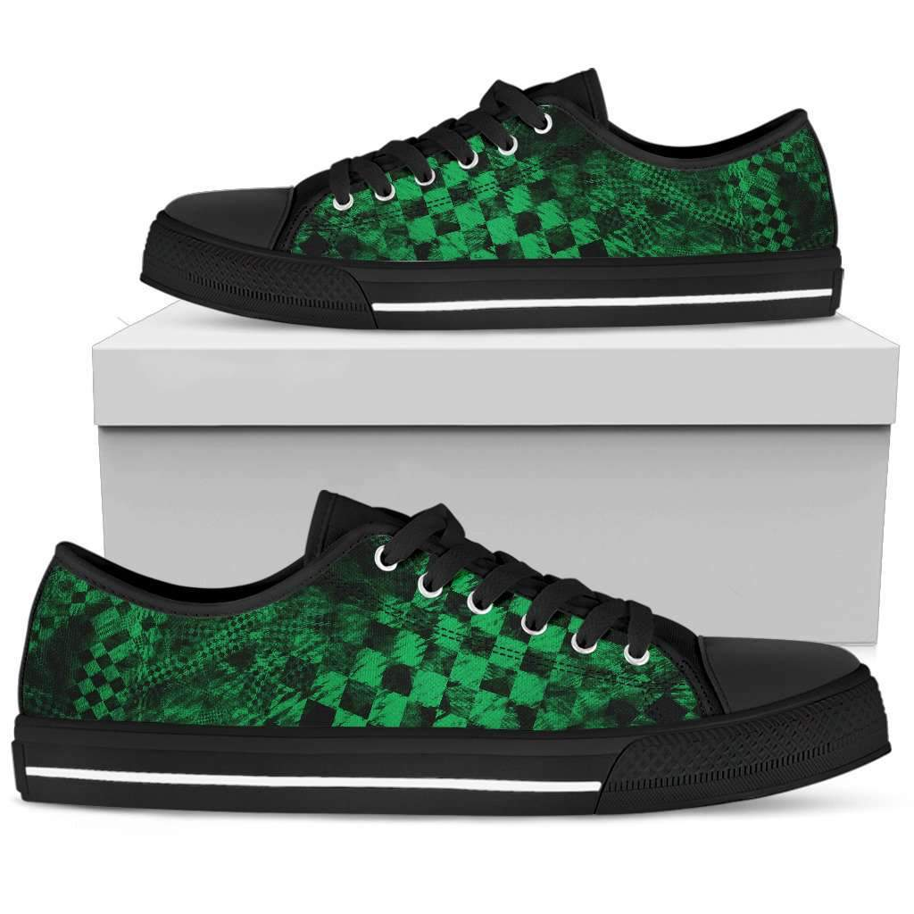 Men's Green Checker Low Tops Umisfashion Store