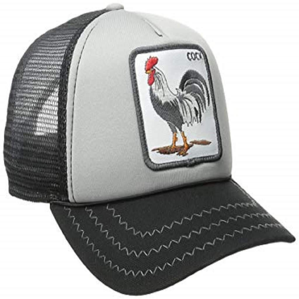 Goorin Men's Animal Farm Adjustable Brown Trucker Hat - 'Black/Gray Rooster' Accessories Umisfashion Store