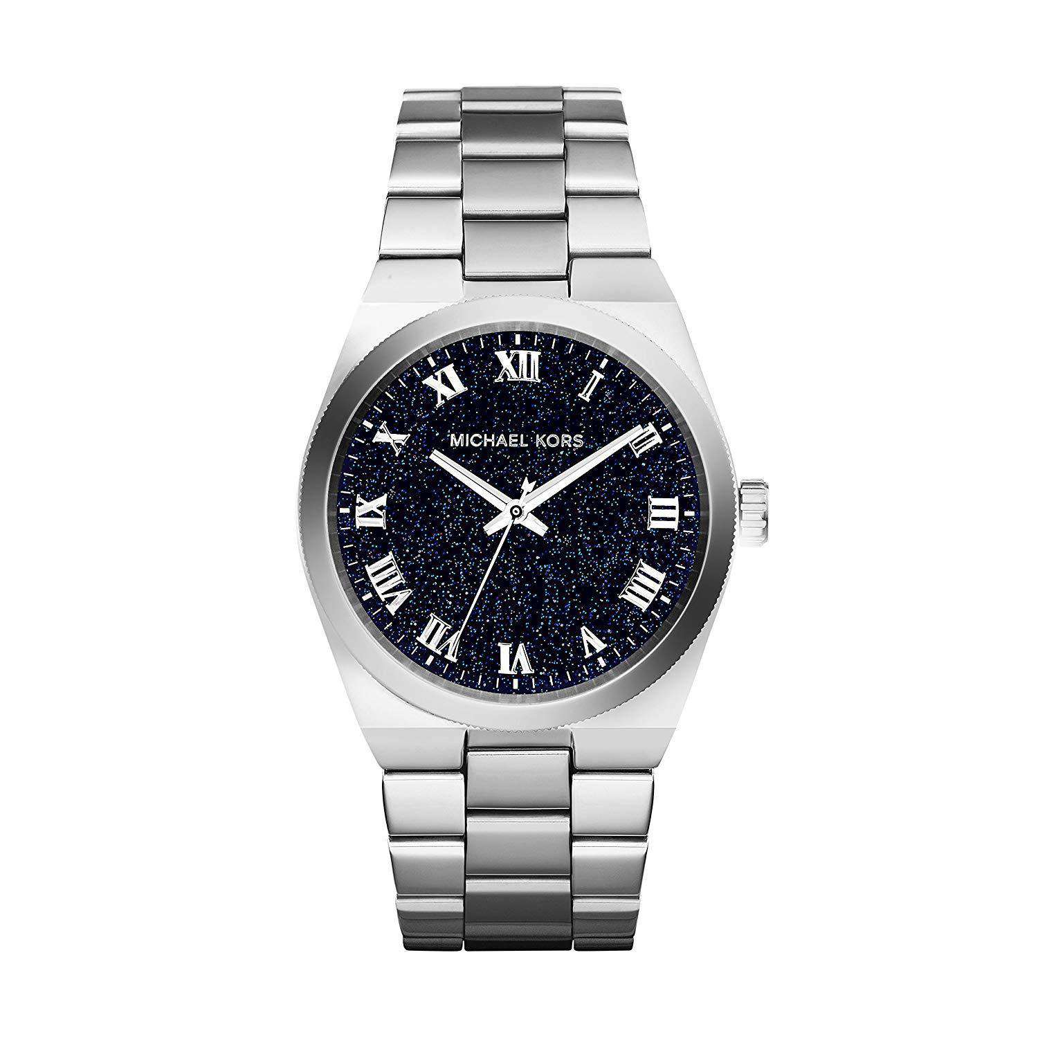Michael Kors MK 6113 Women Channing Midnight Blue Shimmer Dial Watch Steel Umisfashion Store