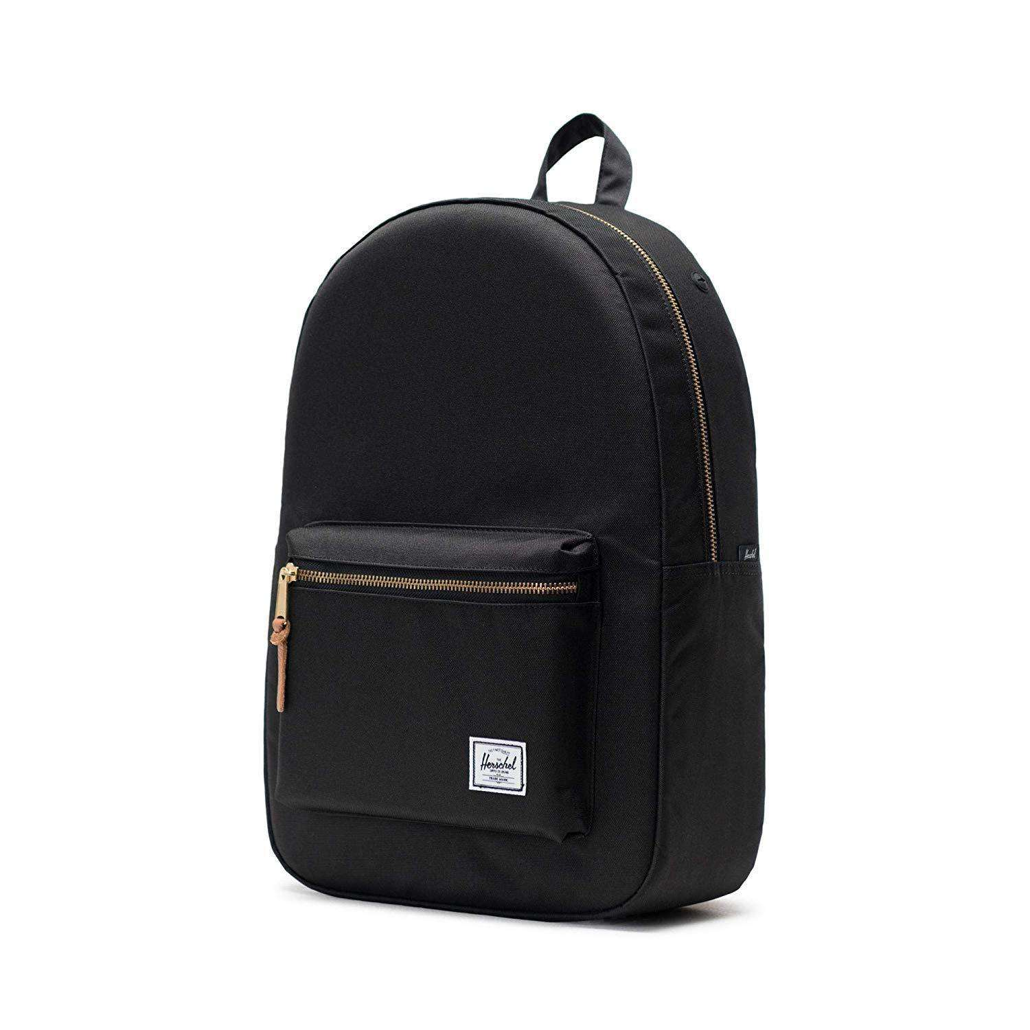 Herschel Settlement Backpack Heavy Duty Lightweight Bag - Black Gridlock Leather Umisfashion Store