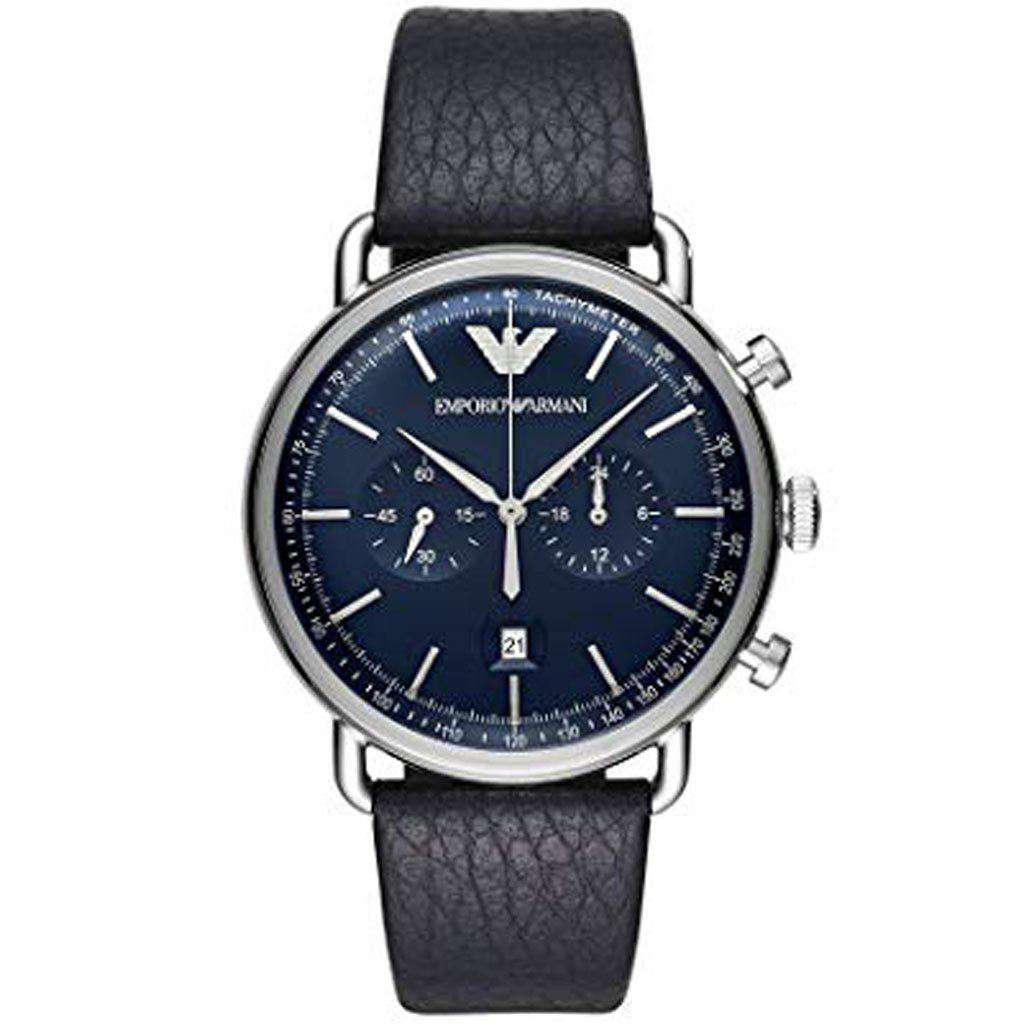 Emporio Armani Men's AR 11105 Stainless Steel Leather Calfskin Watch Leather Umisfashion Store