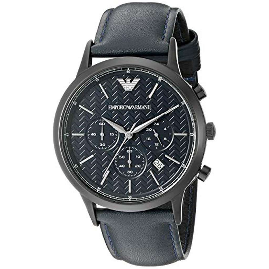 Emporio Armani Men's AR 2481 Chronograph Leather Watch Steel Umisfashion Store