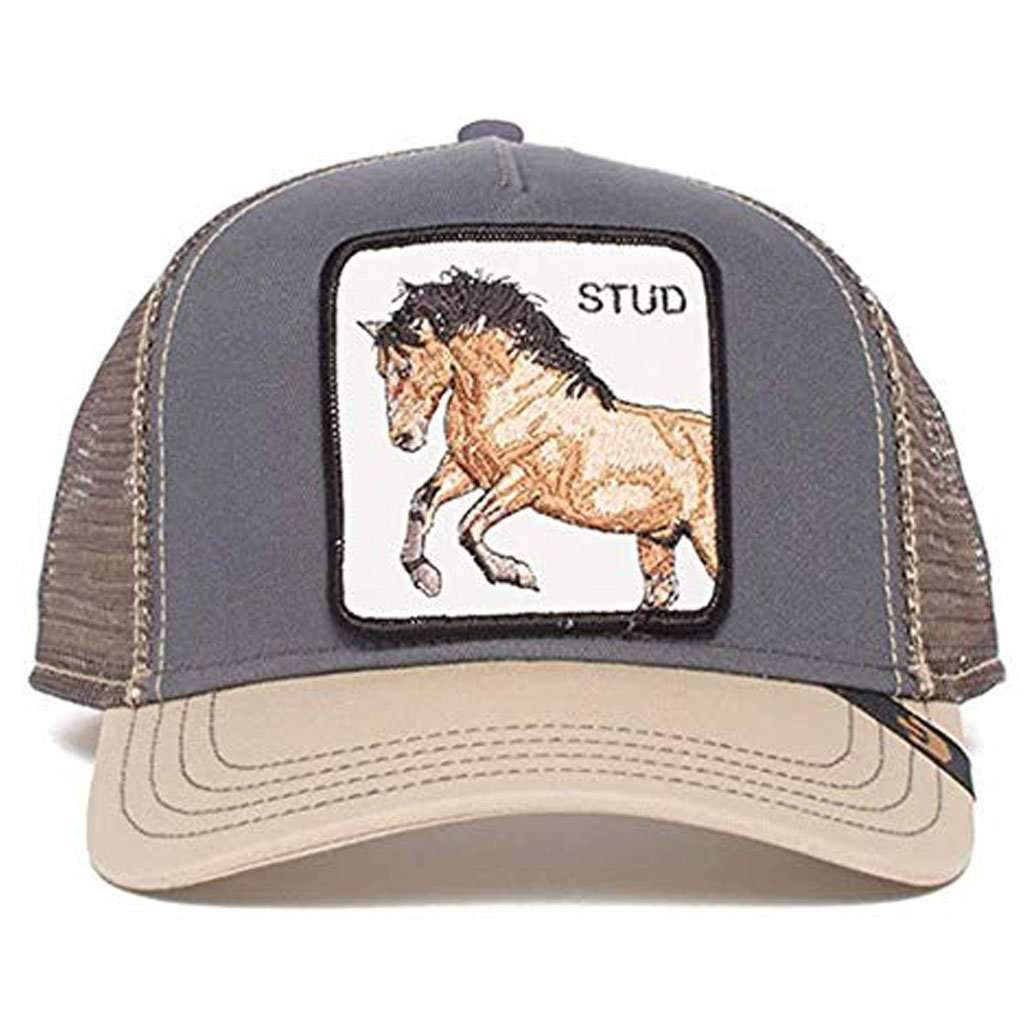 Goorin Men's Animal Farm Adjustable Brown Trucker Hat - 'Grey You Stud' Accessories Umisfashion Store