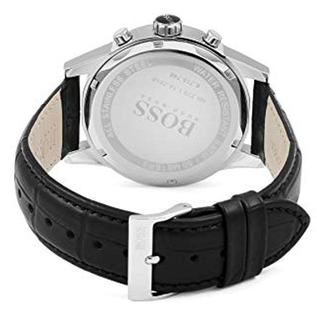 Hugo Boss Men's Jet 1513283 Silver Leather Quartz Watch Steel Umisfashion Store