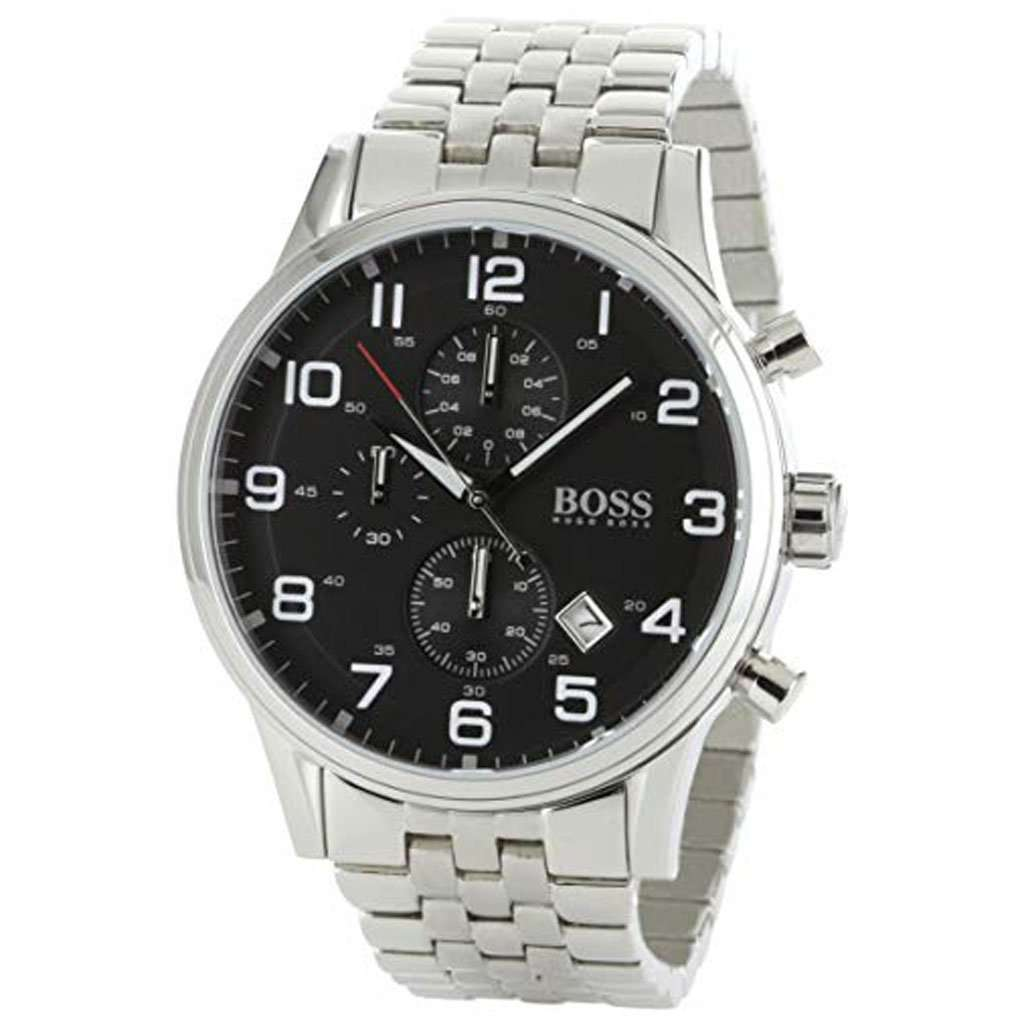 Hugo Boss Men's 1512446 Chronograph Black Dial Stainless-Steel Watch Steel Umisfashion Store