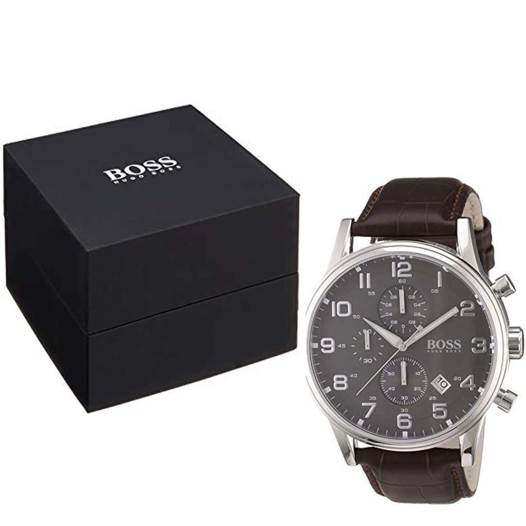 Hugo Boss Men's HB 1512570 Black Dial Leather Watch Steel Umisfashion Store