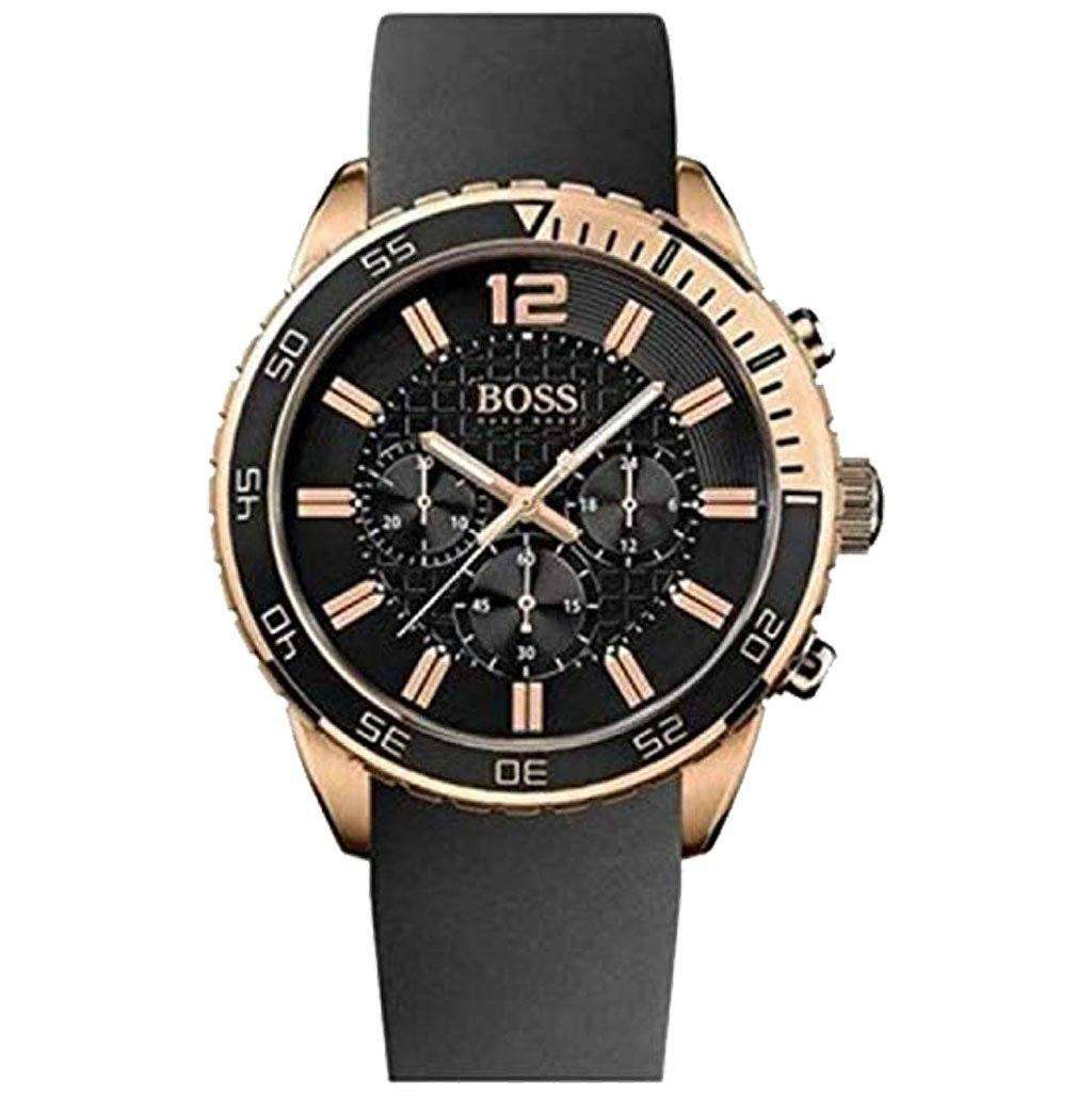Hugo Boss Men's 1512931 Silicon WristBand Black Watch Steel Umisfashion Store