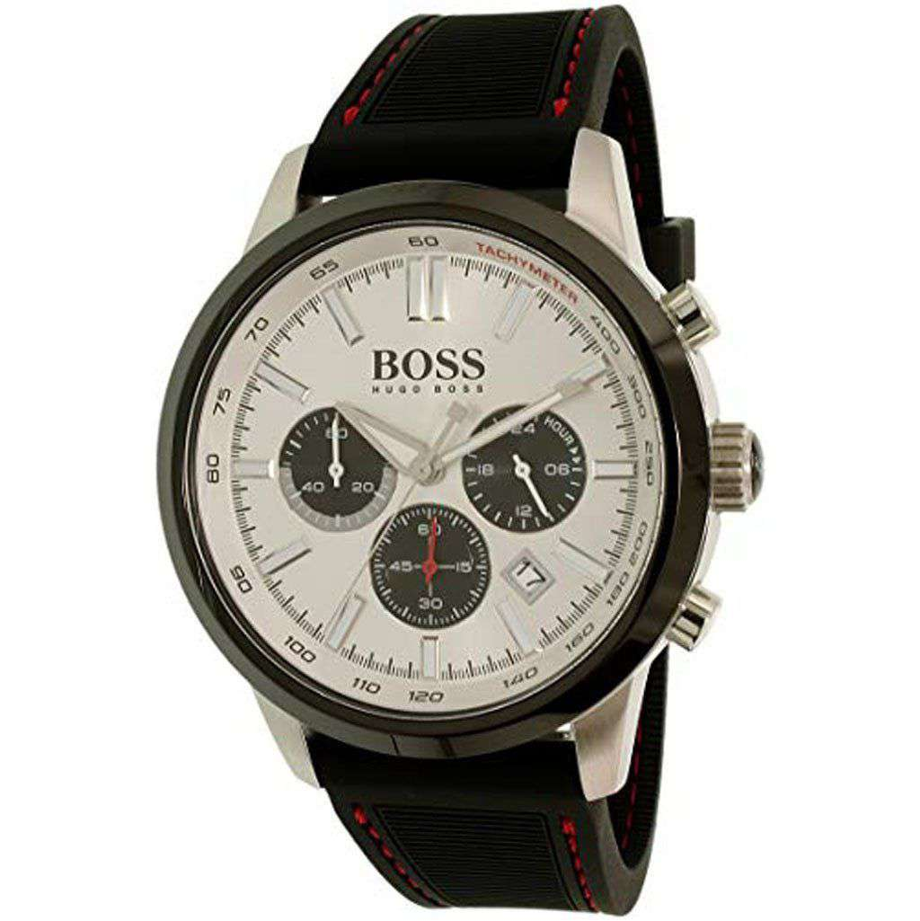 Hugo Boss Men's HB 1513185 Black Silicone Strap Watch Steel Umisfashion Store