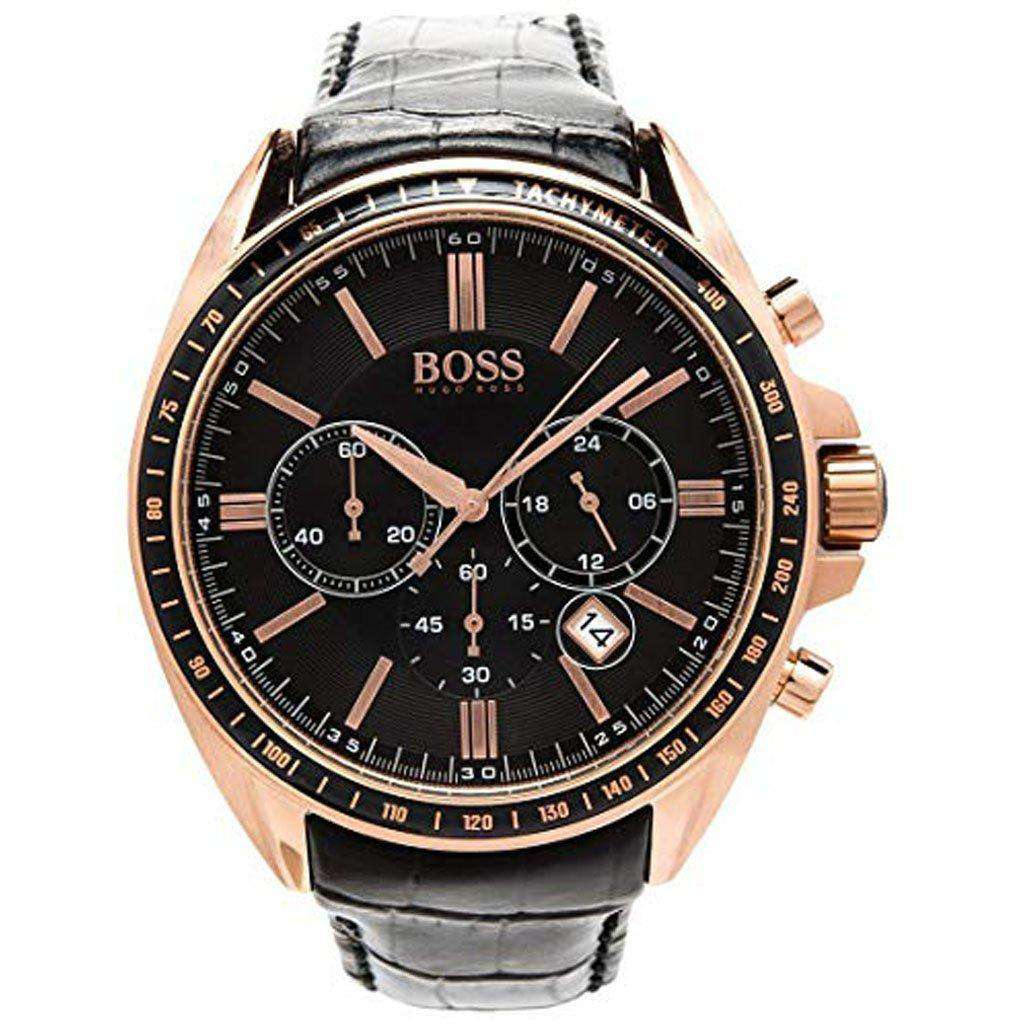 Hugo Boss Men's 1513092 Leather Chrono Quartz Stainless Steel Watch Steel Umisfashion Store