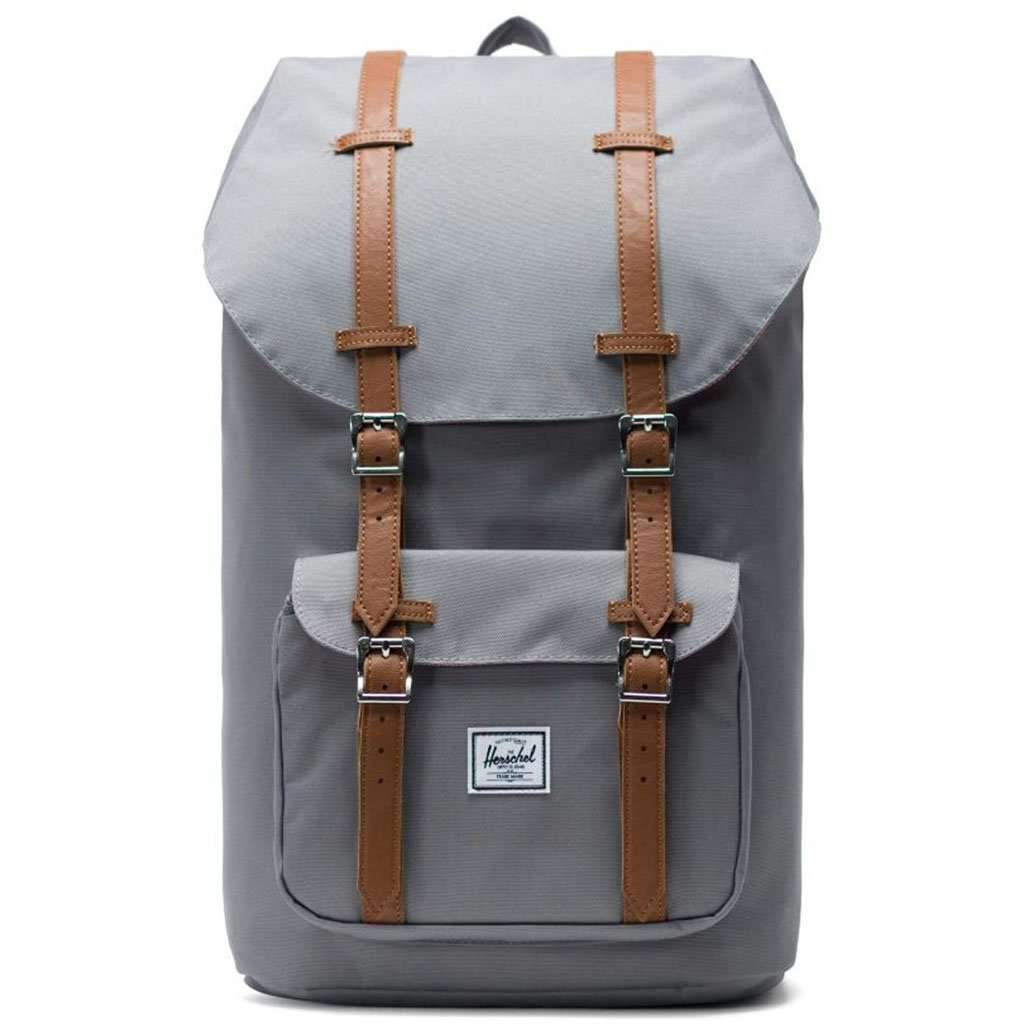 Herschel Little America Backpack Grey/Tan Synthetic Leather Leather Umisfashion Store