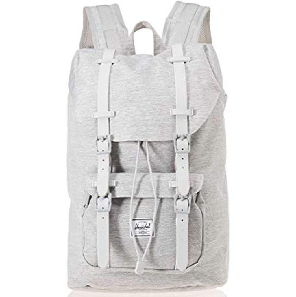 2930d55745682 Herschel Little America Mid-Volume Backpack Light Crosshatch Grey Rubber  Leather Umisfashion Store