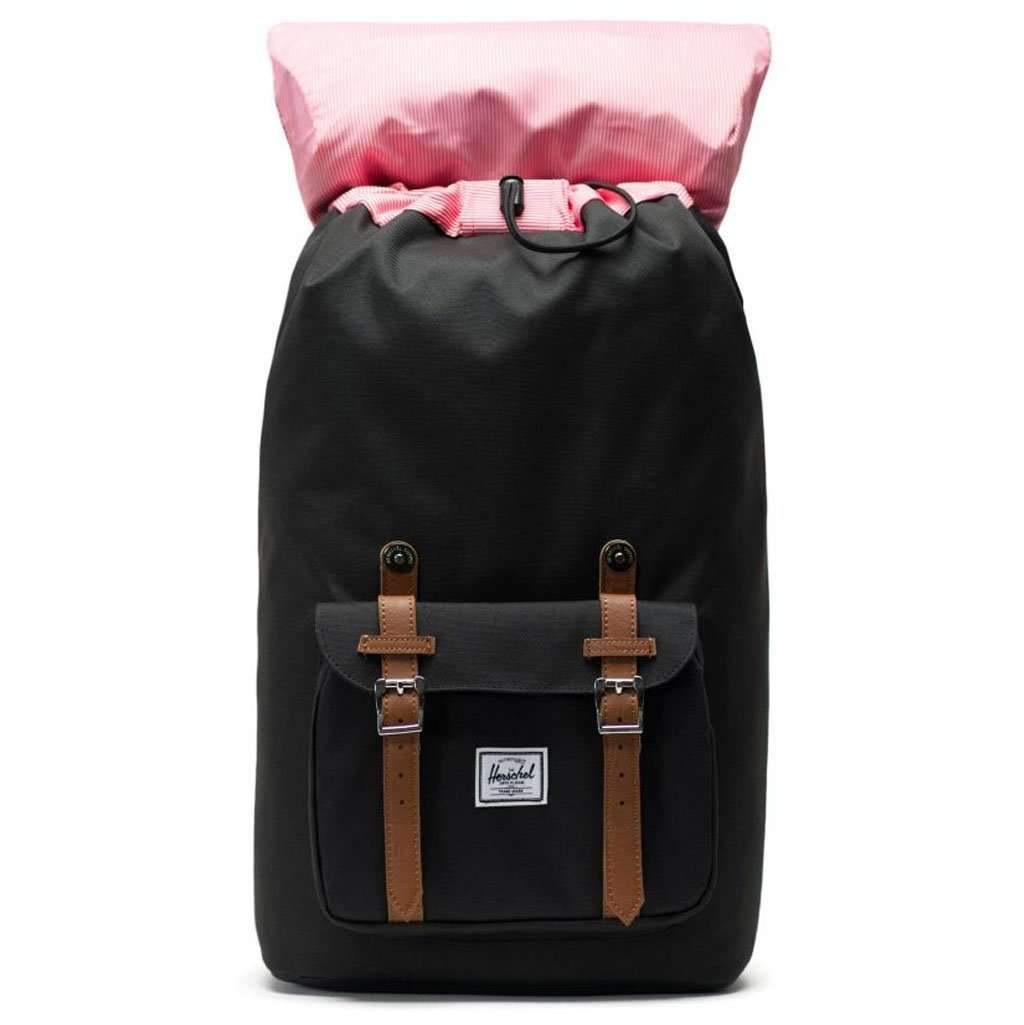 Herschel Little America Backpack | Black/Tan Synthetic Leather Leather Umisfashion Store