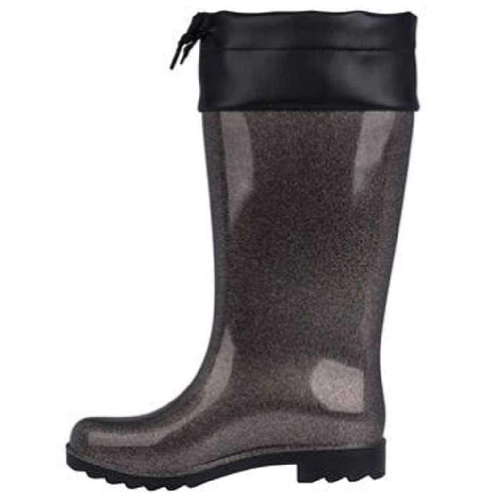 Melissa Shoes Women's Rain Boot - Black Glitter Umisfashion Store