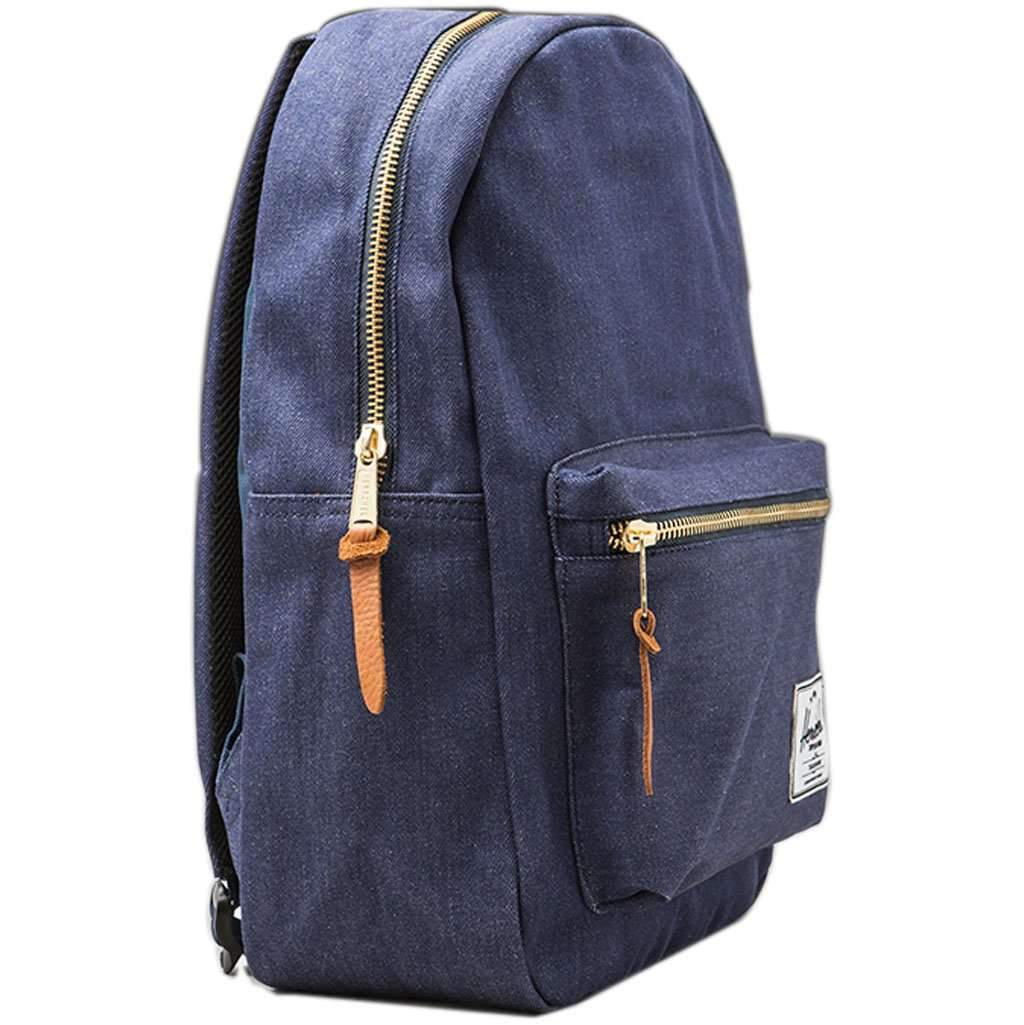 Herschel Settlement Backpack | Faded Denim/Indigo Denim Leather Umisfashion Store