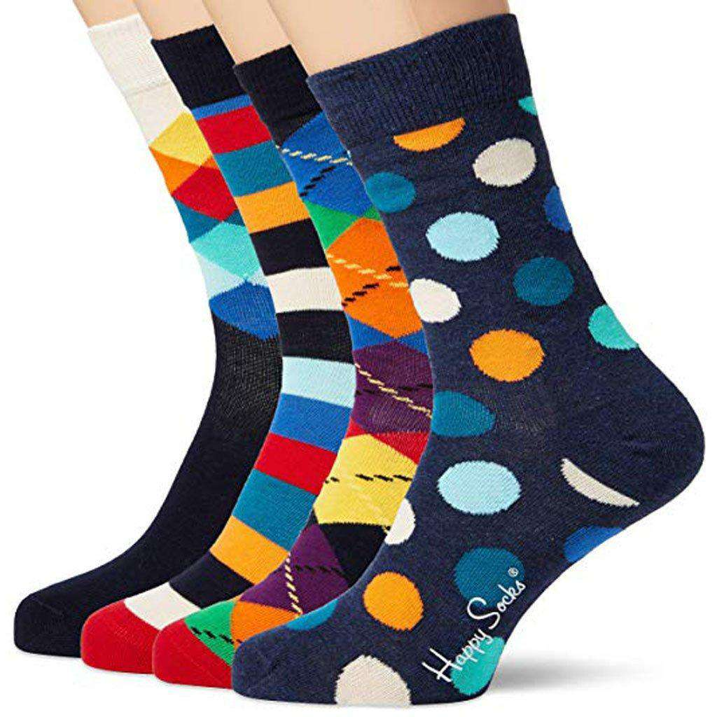 Happy Socks Colorful Soft Organic Cotton Rich Men's Mix Gift Box Socks (Pack of 4) Accessories Umisfashion Store