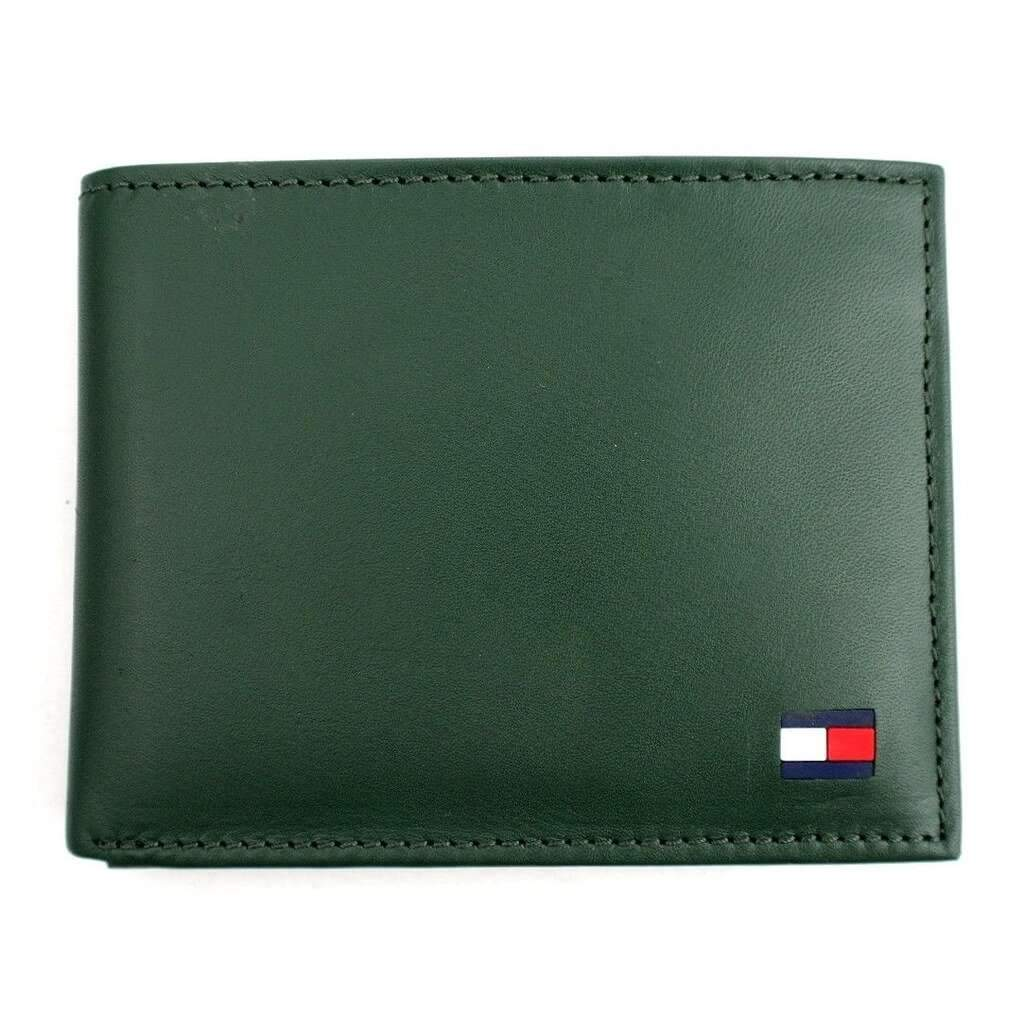Tommy Hilfiger Men's Green Leather Passcase Billfold Wallet Accessories Umisfashion Store
