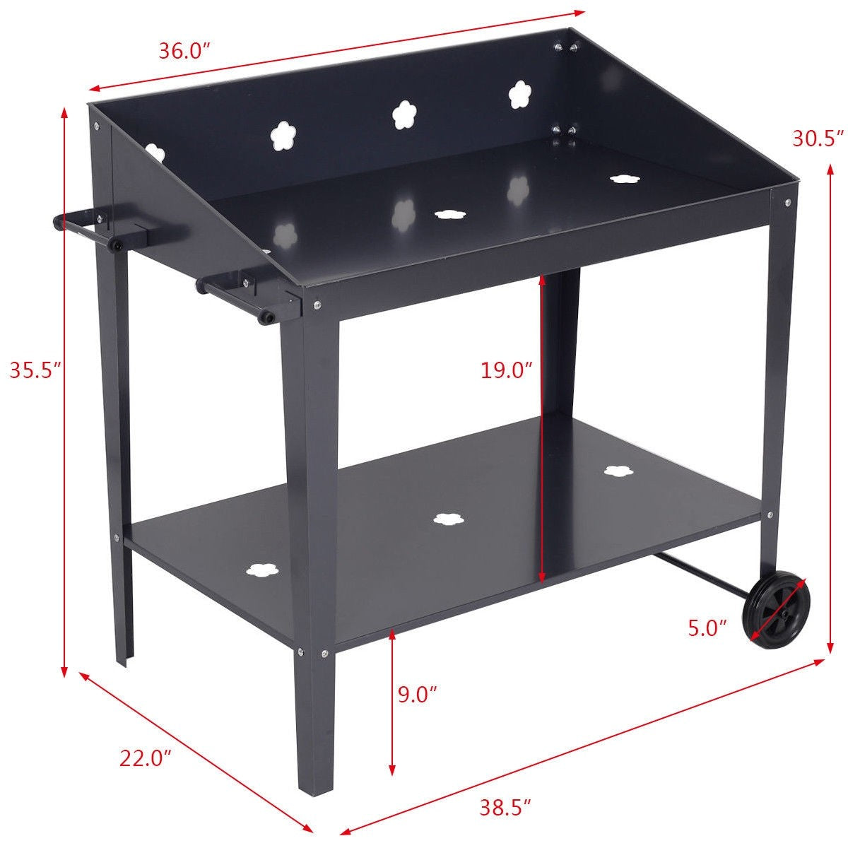 Black, Metal Potting Bench