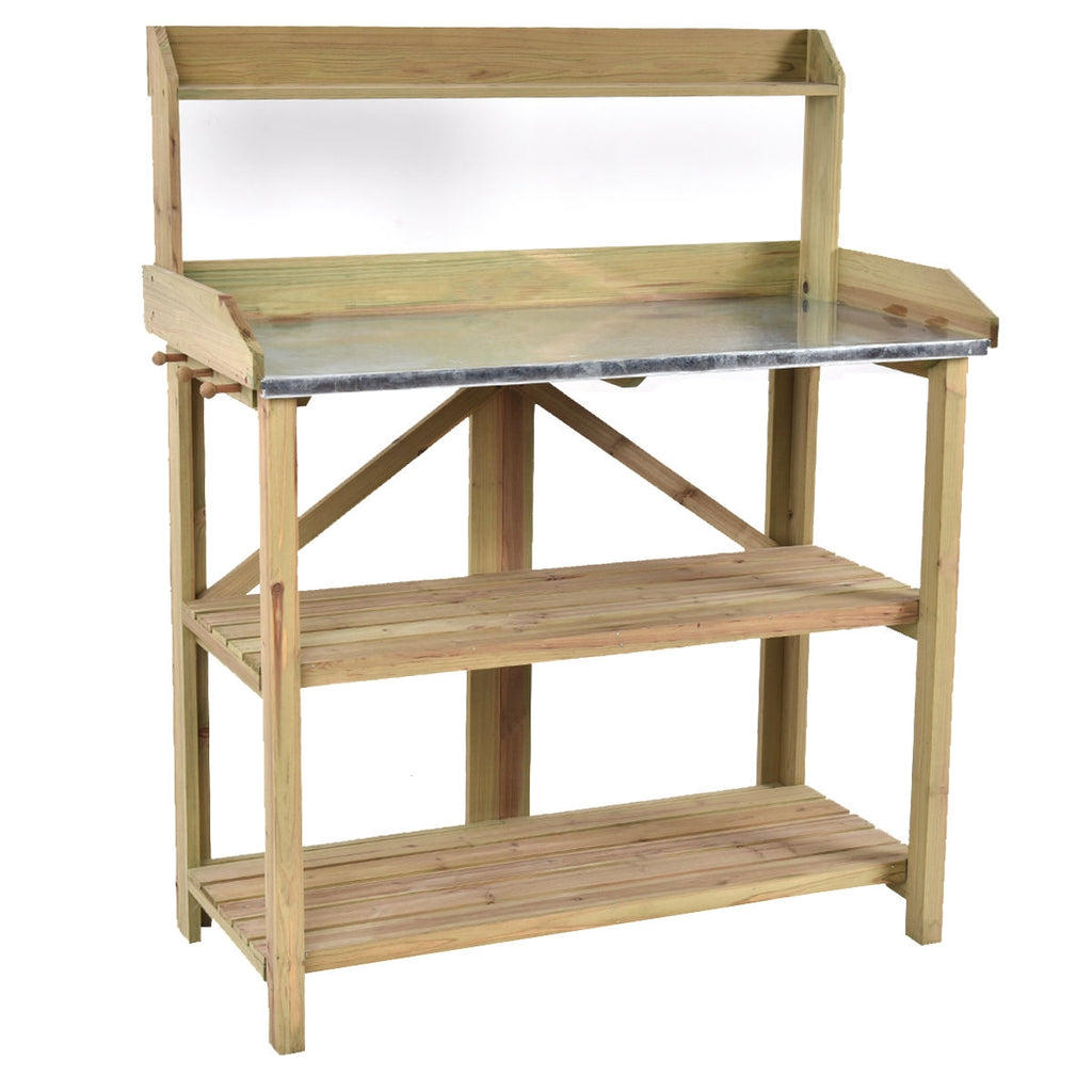 Wood Potting Table with Metal Work Surface