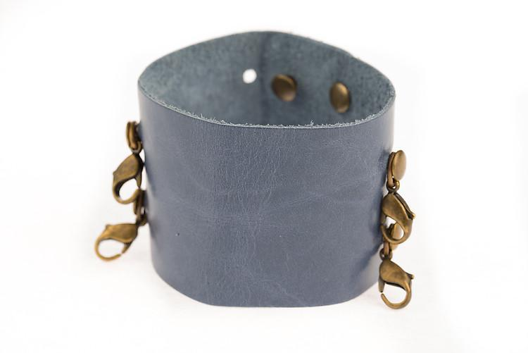 Cornflower Leather Wide Leather Cuff - Lenny and Eva