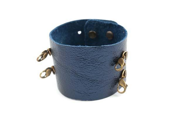 Metallic Navy Wide Leather Cuff - Lenny and Eva