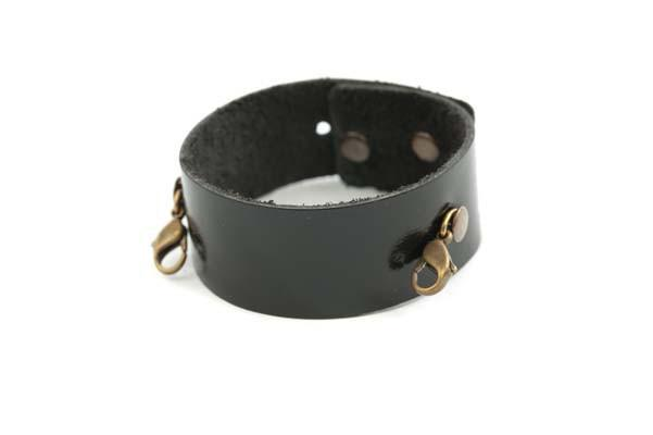 Black Leather Thin Cuff - Lenny and Eva