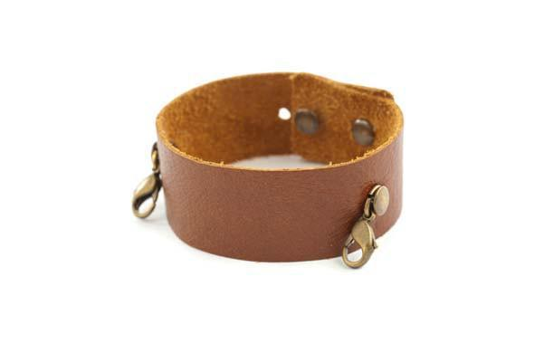 Dark Chestnut Thin Leather Cuff Lenny and Eva