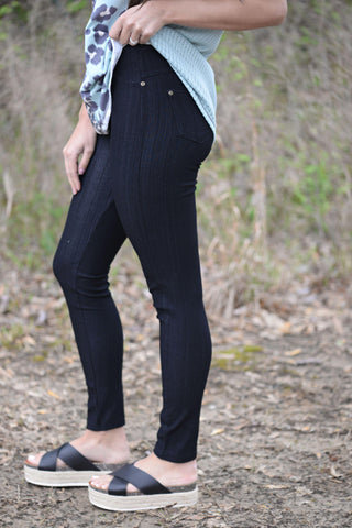 Charcoal Fleece Lined Leggings One Size