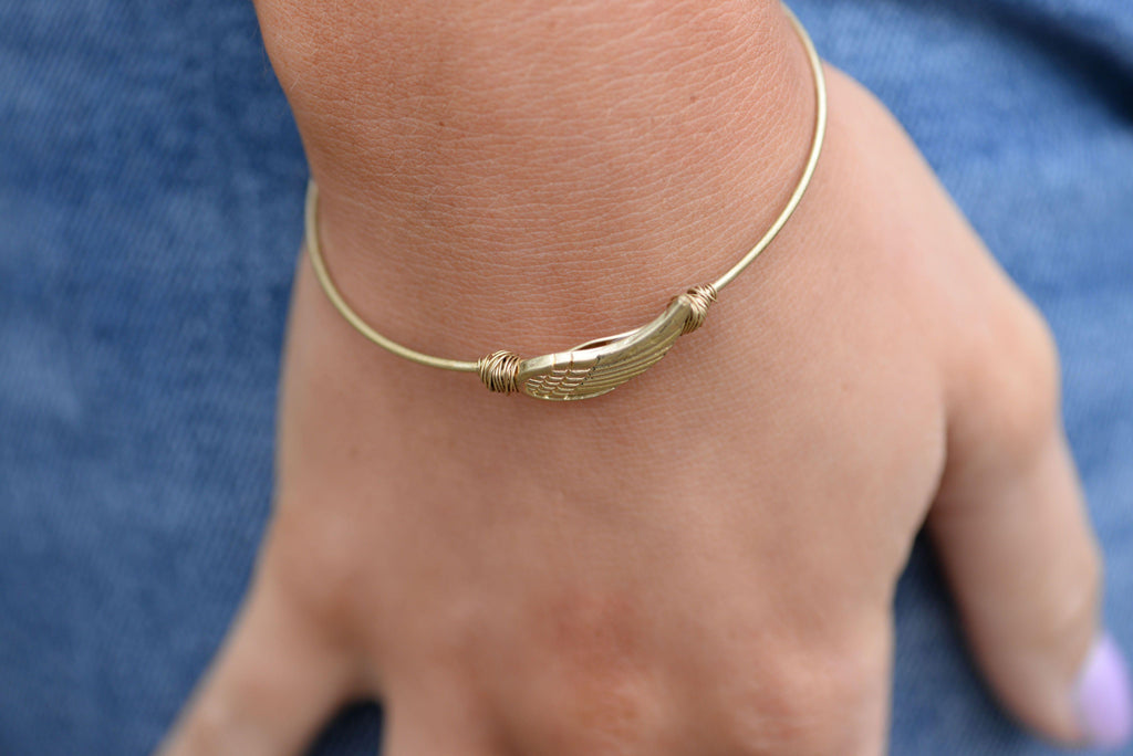 Angel Wing Worn Gold Bracelet