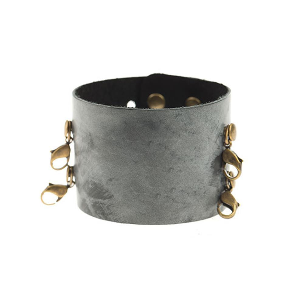 Ceramic Black Wide Leather Cuff - Lenny and Eva
