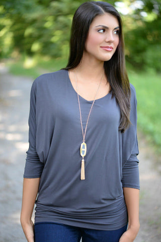 Basic Beauty Gray V-Neck Top