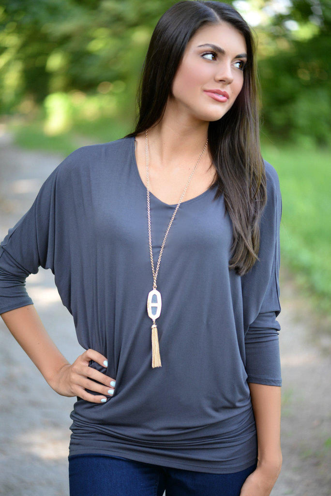 Charcoal Gray Dolman Top
