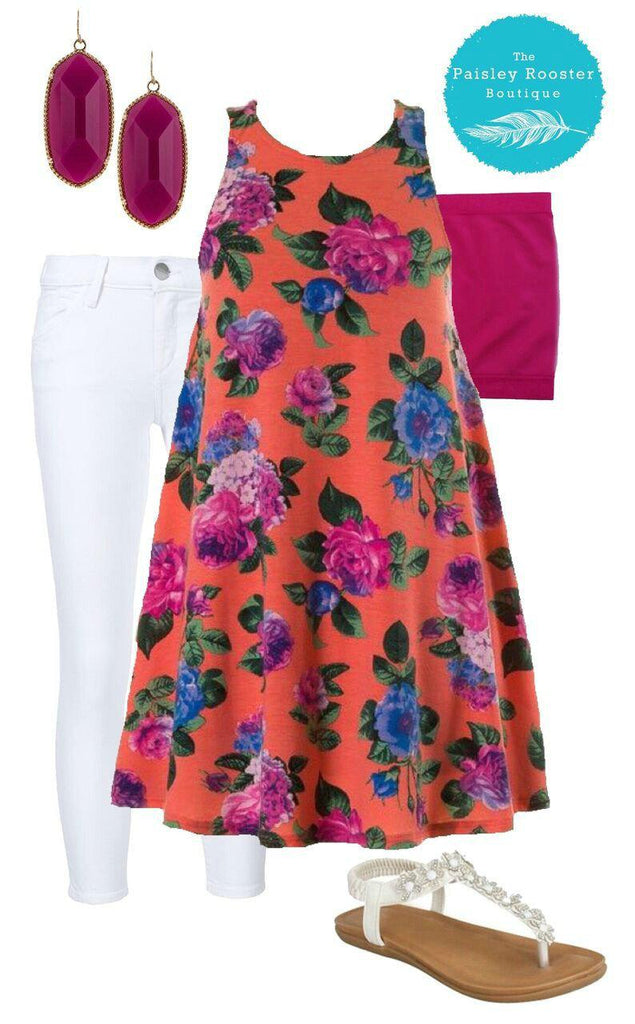 Coral Floral Outfit Set (Dress, Bandeau & Earrings Included)