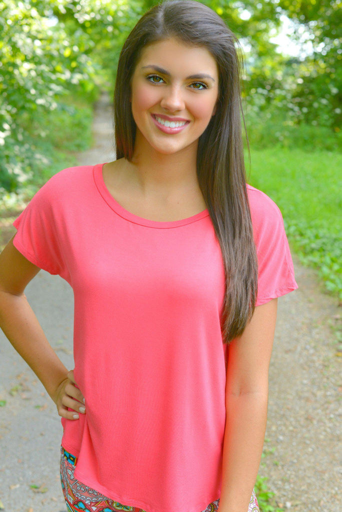 Coral Short Sleeve Piko Style Top