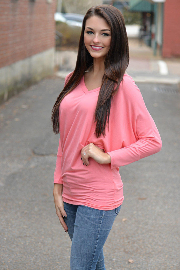 Coral V-Neck Dolman Top