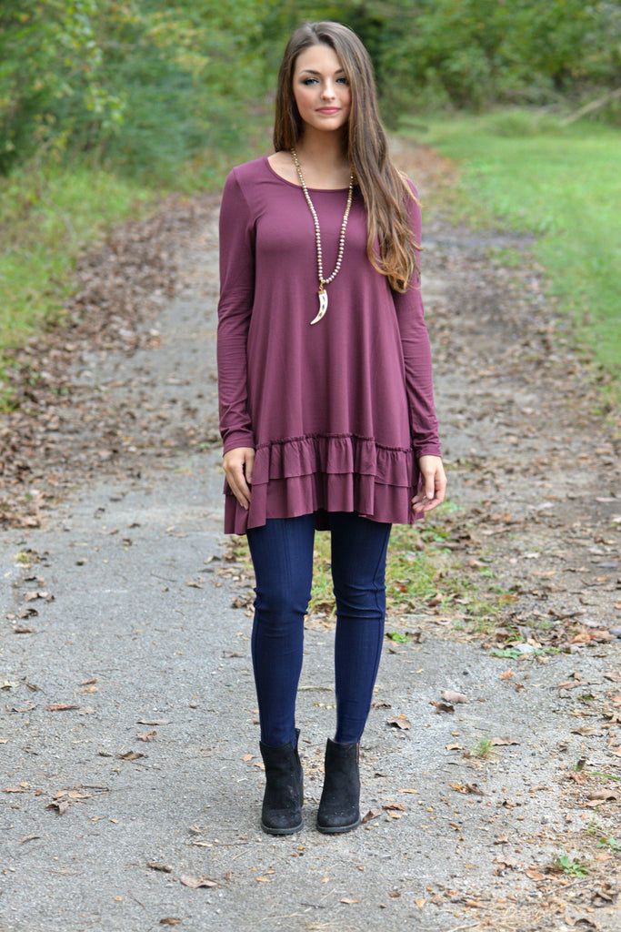 Double the Fun Wine  Ruffle Top