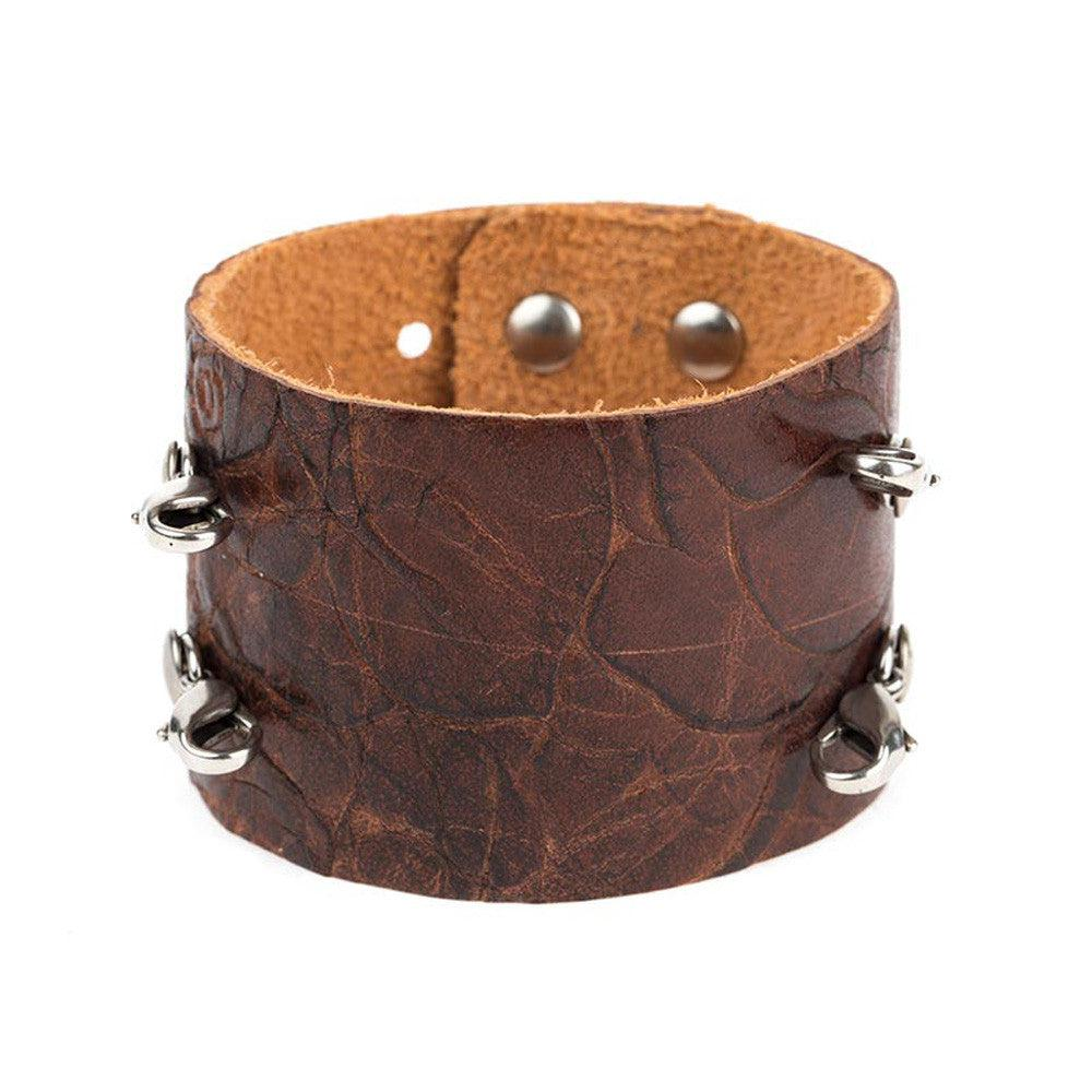 Floral Brown Wide Leather Cuff - Lenny and Eva
