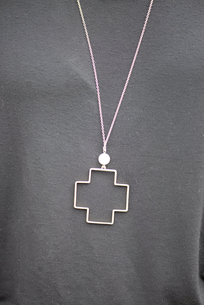 Gold Tone Cross With Pearl Bead