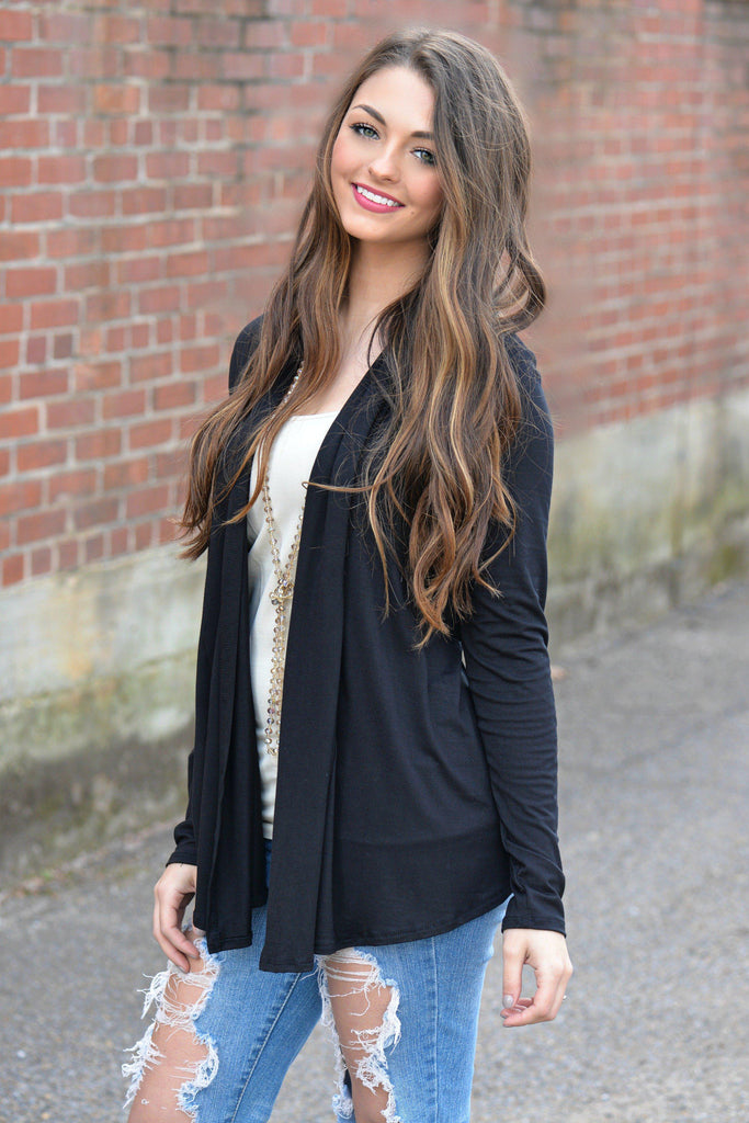 Go With The Flow Cardigan Black
